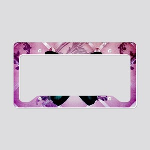 Purple girly teal butterfly License Plate Holder