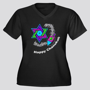 Happy Chanukah Women's Plus Size V-Neck Dark T-Shi