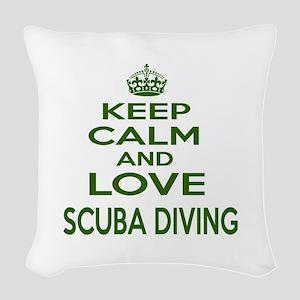 Keep calm and love Scuba Divin Woven Throw Pillow
