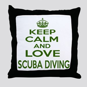 Keep calm and love Scuba Diving Throw Pillow