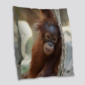 OrangUtan20151004 Burlap Throw Pillow