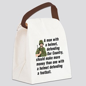 A MAN WITH A HELMET DEFENDING OUR Canvas Lunch Bag
