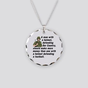 A MAN WITH A HELMET DEFENDIN Necklace Circle Charm