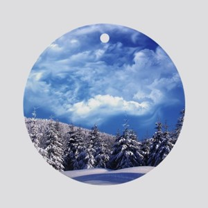 Winter Landscape Round Ornament