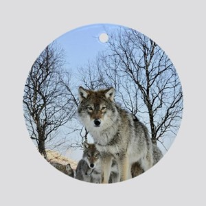 Pack Of Wolves During Winter Round Ornament