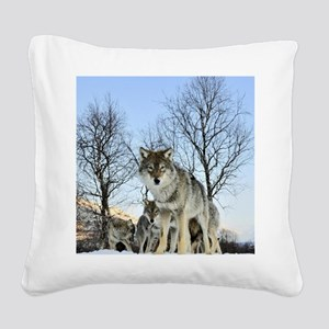 Pack Of Wolves During Winter Square Canvas Pillow