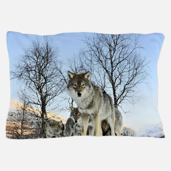Pack Of Wolves During Winter Pillow Case