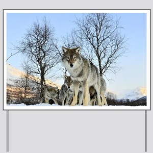 Pack Of Wolves During Winter Yard Sign