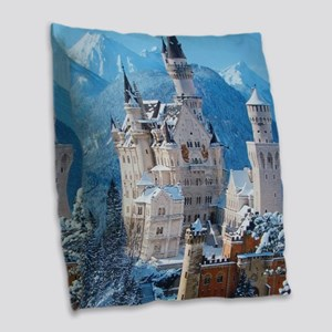 Castle In The Winter Burlap Throw Pillow