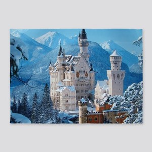 Castle In The Winter 5'x7'Area Rug