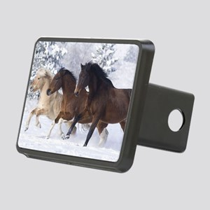 Horses Running In The Snow Rectangular Hitch Cover