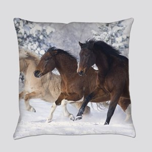 Horses Running In The Snow Everyday Pillow