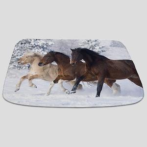 Horses Running In The Snow Bathmat