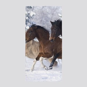 Horses Running In The Snow Beach Towel
