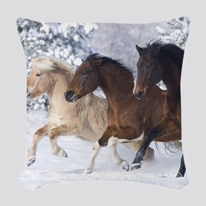 Horses Running In The Snow Woven Throw Pillow