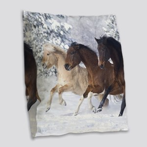 Horses Running In The Snow Burlap Throw Pillow