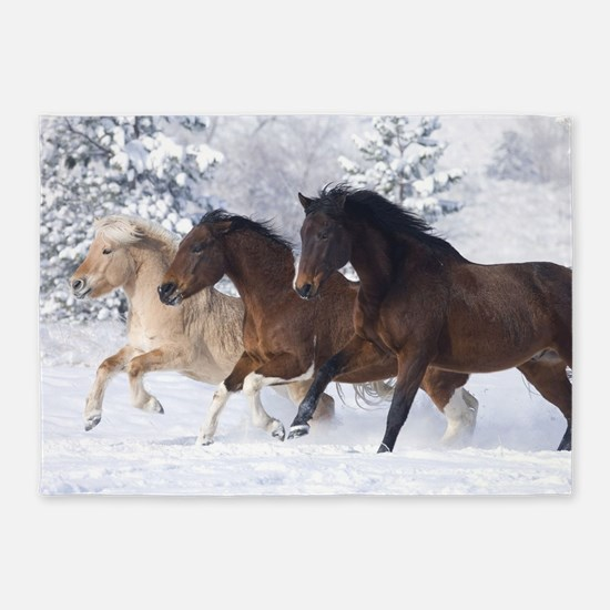 Horses Running In The Snow 5'x7'Area Rug