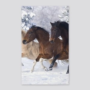 Horses Running In The Snow Area Rug