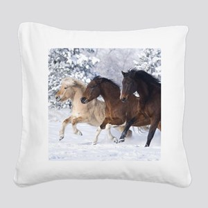 Horses Running In The Snow Square Canvas Pillow