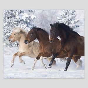 Horses Running In The Snow King Duvet