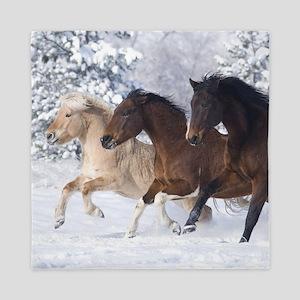 Horses Running In The Snow Queen Duvet