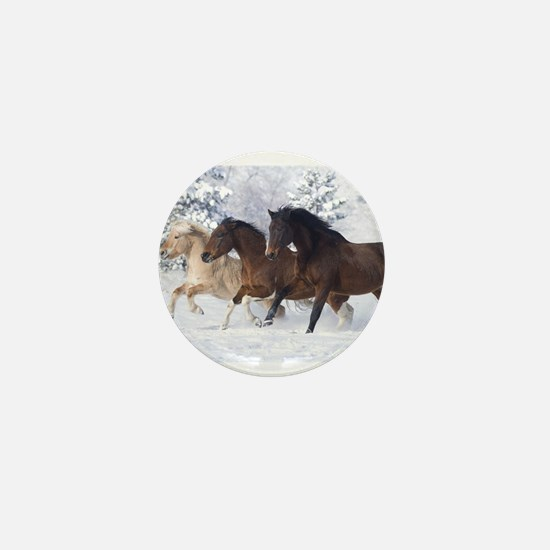 Horses Running In The Snow Mini Button