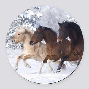 Horses Running In The Snow Round Car Magnet
