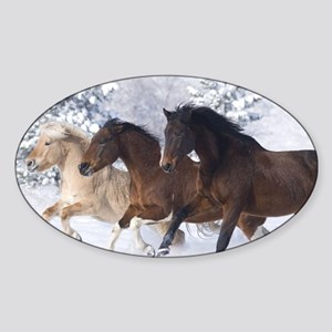 Horses Running In The Snow Sticker