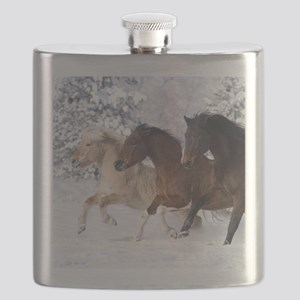 Horses Running In The Snow Flask