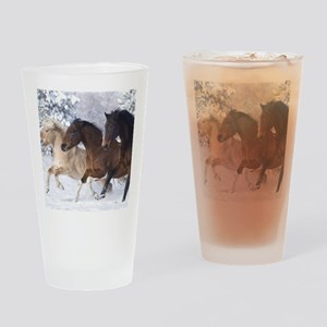 Horses Running In The Snow Drinking Glass