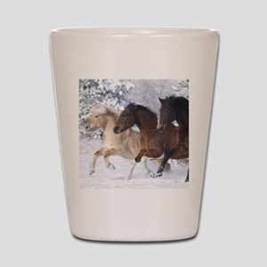 Horses Running In The Snow Shot Glass