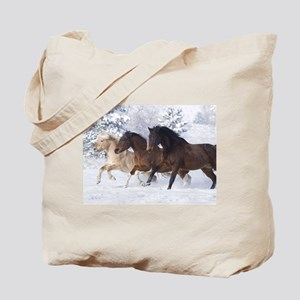 Horses Running In The Snow Tote Bag