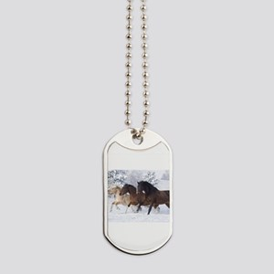 Horses Running In The Snow Dog Tags