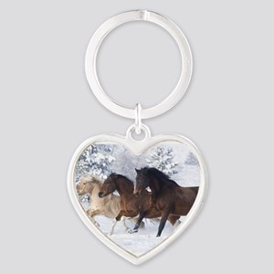 Horses Running In The Snow Keychains
