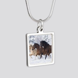 Horses Running In The Snow Necklaces
