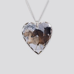 Horses Running In The Snow Necklace Heart Charm