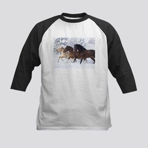 Horses Running In The Snow Baseball Jersey
