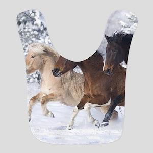Horses Running In The Snow Bib