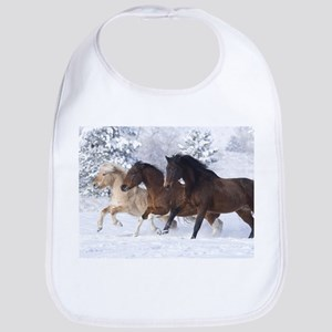 Horses Running In The Snow Bib