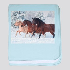 Horses Running In The Snow baby blanket
