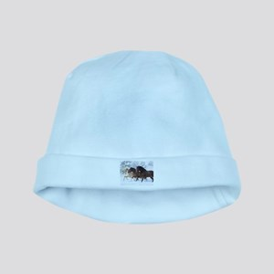 Horses Running In The Snow baby hat