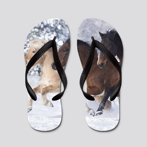 Horses Running In The Snow Flip Flops