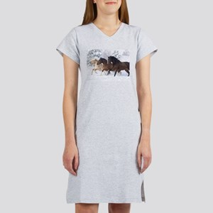 Horses Running In The Snow Women's Nightshirt
