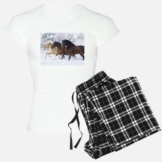 Horses Running In The Snow pajamas