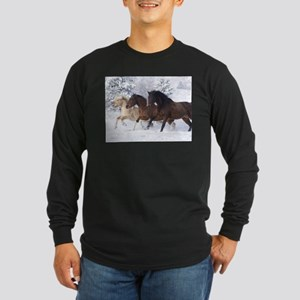 Horses Running In The Snow Long Sleeve T-Shirt