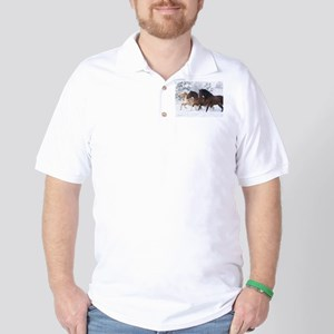 Horses Running In The Snow Golf Shirt