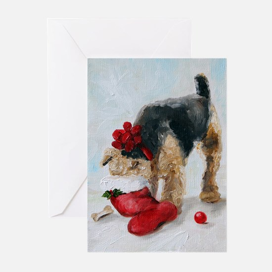 Cute Airedale art Greeting Cards (Pk of 20)