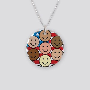 American People Necklace Circle Charm