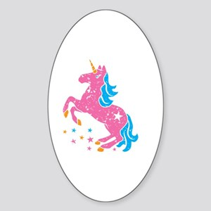Distressed pink unicorn Sticker (Oval)