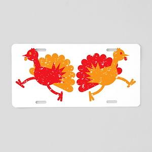 Two running Turkeys TURKEY! Aluminum License Plate